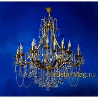 Бронзовая хрустальная люстра на 18 ламп №2, фото 1