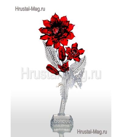 Цветок роза красная (горный хрусталь), фото 1